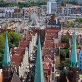 Panoramiczny widok od Gdańskiej katedry Świątobliwa dziewica, Polska Zdjęcie Stock