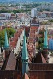 Panoramiczny widok od Gdańskiej katedry Świątobliwa dziewica, Polska Obrazy Stock
