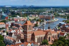 Panoramiczny widok od Gdańskiej katedry Świątobliwa dziewica, Polska Fotografia Royalty Free