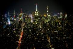 Panoramiczny widok od Jeden world trade center przy nocą Obrazy Royalty Free