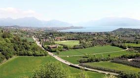 Panoramiczny widok od Lonato kasztelu zbiory wideo