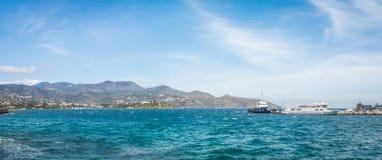 Panoramiczny widok od miasteczka Agios Nikolaos Obraz Royalty Free