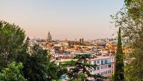 Panoramiczny widok od Pincio, Rzym, Włochy Zdjęcie Stock