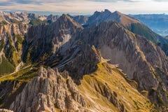 Panoramiczny widok od Reither Spitze, Austria Fotografia Stock