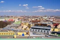 Panoramiczny widok od St Isaac katedry z dachami i pałac Sq Fotografia Stock
