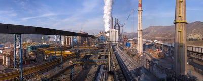 Panoramiczny widok od węglowy wierza na koksowniczej i metalurgicznej roślinie w Kardemir Zdjęcia Royalty Free