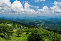 Panoramiczny widok od Whitetop góry, Grayson okręg administracyjny, Virginia, usa obrazy stock