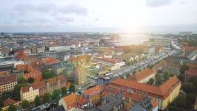 Panoramiczny widok od wierza wybawiciel w starym mieście Kopenhaga Fotografia Royalty Free