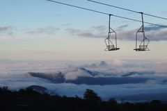 Panoramiczny widok od wulkanu villarica w chile obraz stock