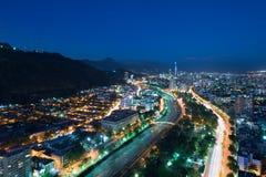 Panoramiczny widok okręgi i Bellavista sąsiedztwo w Santiago Providencia i Lasu Condes zdjęcie royalty free