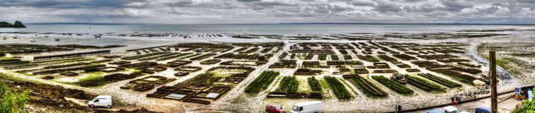 Panoramiczny widok ostrygi uprawia ziemię w Cancal, Francja zdjęcie royalty free