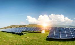 Panoramiczny widok panel słoneczny, photovoltaics, alternatywny elektryczności źródło fotografia royalty free