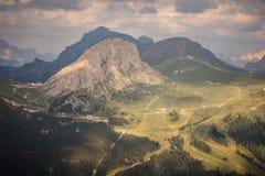 Panoramiczny widok Passo Pordoi Fotografia Stock