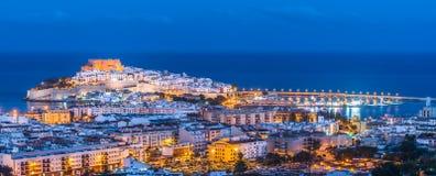 Panoramiczny widok Peniscola, (Hiszpania) obrazy stock