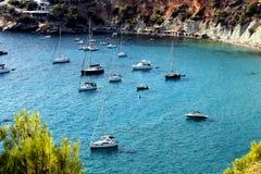 Panoramiczny widok piękna i wspaniała zatoczka w Ibiza, Hiszpania, nazwany d ` Hort ` ` Cala zdjęcia royalty free