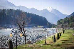 Panoramiczny widok pięknego góra krajobrazu mała wioska amo Obraz Royalty Free