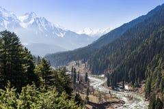 Panoramiczny widok pięknego góra krajobrazu mała wioska amo Obrazy Royalty Free