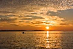 Panoramiczny widok Piran zatoka przy zmierzchem w Adriatyckim morzu Zdjęcie Royalty Free