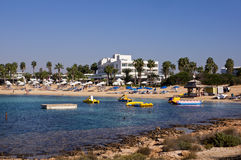 Panoramiczny widok Plażowy Makronissos, Agia Napa Zdjęcie Royalty Free