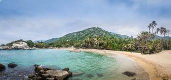 Panoramiczny widok plaża przy Cabo San Juan, Tayrona Naturalnym parkiem narodowym -, Kolumbia Zdjęcia Stock