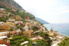 Panoramiczny widok Positano wioska, Amalfi wybrzeże, Włochy Fotografia Stock