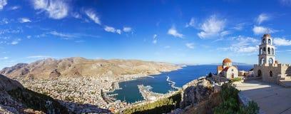 Panoramiczny widok Pothia miasteczko, Kalymnos, Grecja Obraz Royalty Free