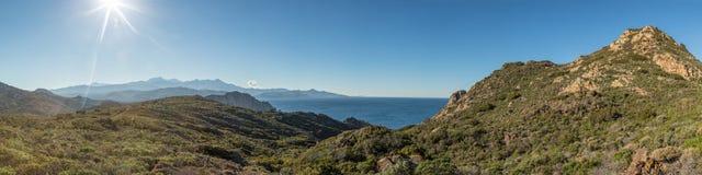 Panoramiczny widok przez pustyni des Agriates w Corsica Obrazy Stock