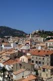 Panoramiczny widok przy Calvi śródmieściem na Corsica wyspie w Francja Obraz Stock