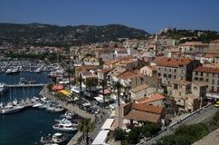 Panoramiczny widok przy Calvi śródmieściem na Corsica wyspie w Francja Zdjęcie Royalty Free