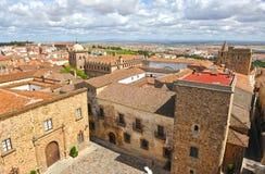 Panoramiczny widok, średniowieczny miasto, Caceres, Extremadura, Hiszpania Obrazy Stock