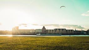 Panoramiczny widok Rheinauhafen w Kolonia, Niemcy fotografia stock