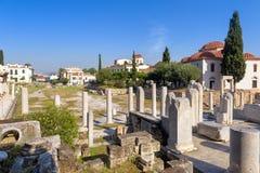 Panoramiczny widok Romańska agora, Ateny, Grecja Zdjęcia Royalty Free