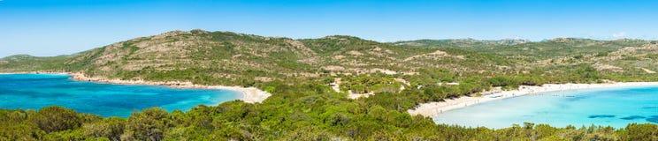 Panoramiczny widok Rondinara plaża w Corsica wyspie w Francja Obraz Stock