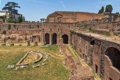 Panoramiczny widok ruiny w palatynu wzgórzu w mieście Rzym, Włochy Obraz Royalty Free