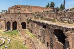 Panoramiczny widok ruiny w palatynu wzgórzu w mieście Rzym, Włochy Zdjęcie Stock