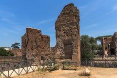 Panoramiczny widok ruiny w palatynu wzgórzu w mieście Rzym, Włochy Obrazy Royalty Free
