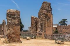 Panoramiczny widok ruiny w palatynu wzgórzu w mieście Rzym, Włochy Zdjęcia Stock
