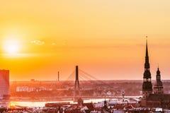 Panoramiczny widok Ryski, Latvia zdjęcie stock