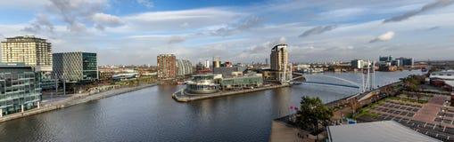 Panoramiczny widok Salford Quay Machester UK Obraz Royalty Free