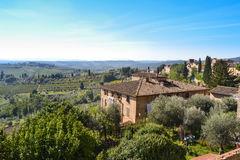 Panoramiczny widok San Gimignano, Tuscany, Włochy Obrazy Stock