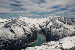 Panoramiczny widok Schlegeisspeicher jezioro - fotografia stock