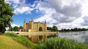 Panoramiczny widok Schwerin kasztel, Niemcy Fotografia Royalty Free