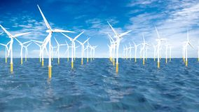 Panoramiczny widok set turbiny tworzy farmę wiatrową po środku oceanu z chmurnym niebieskim niebem w ciągu dnia ilustracja wektor