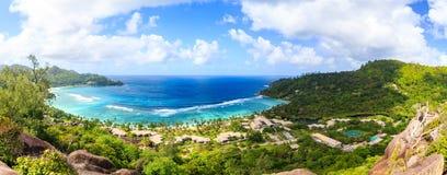 Panoramiczny widok Seychelles wyspa fotografia royalty free