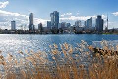 Panoramiczny widok stary Danube w Vienna Austria Obraz Stock