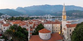 Panoramiczny widok Stary grodzki Budva Montenegro Obrazy Royalty Free