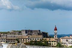 Panoramiczny widok stary miasteczko w Corfu wyspie, Grecja Fotografia Stock