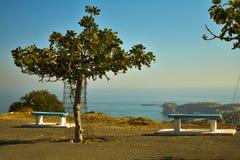Panoramiczny widok stegna wioska i plaża fotografia royalty free