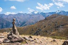 Panoramiczny widok szczyt Talgar od szczytu Furmanov w Al obraz royalty free