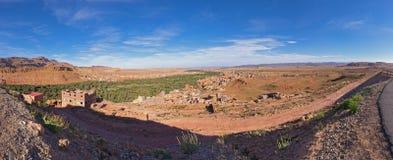Panoramiczny widok Tinghir dolina, Morocco Zdjęcie Stock